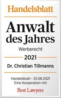 Handeslblatt Auszeichung Beste Anwälte Deutschlands 2021 – Dr. Tillmanns